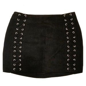 Divided H&M Black Suede Mini Skirt